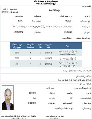 Membership in the consultants  List of Tehran Municipality